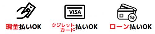 お支払い方法は現金・クレジットカード・ローン払いからお選びいただけます